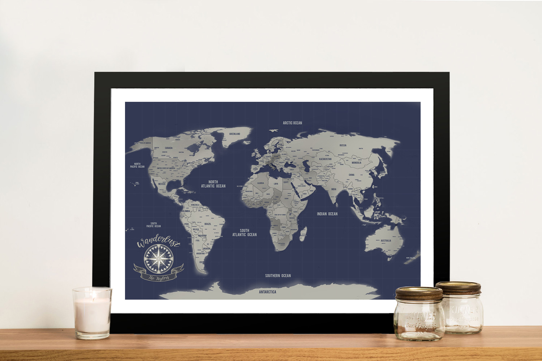 Navy Blue & Silver Push Pin Travel Map | Navy Blue & Silver Push Pin Travel Map