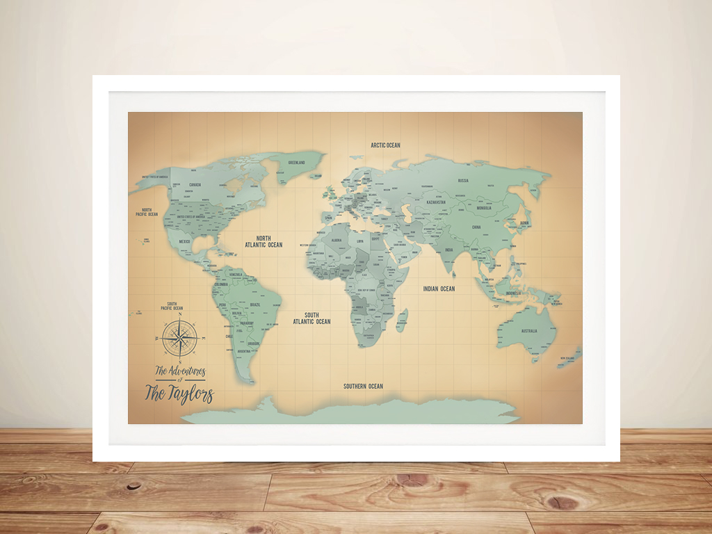 Sand & Teal Push Pin Travel Map Framed Wall Artwork | Sand & Teal Push Pin Travel Map