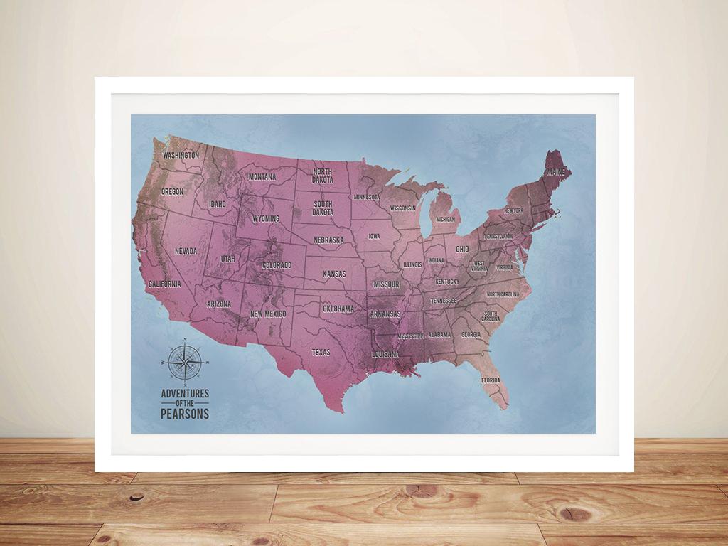 Magenta Customisable Push Pin USA Travel Map | Push Pin USA Map – Aventuras Magenta