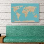 Customised-Yellow-And-Blue-World-Travel-Map-Canvas-Artwork