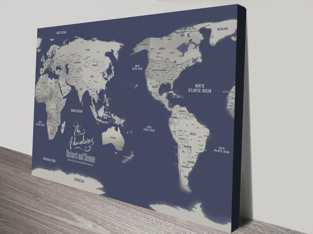 Navy Blue Australia Central Pacific Map canvas Print   Australia-Centric Navy & Silver World Map
