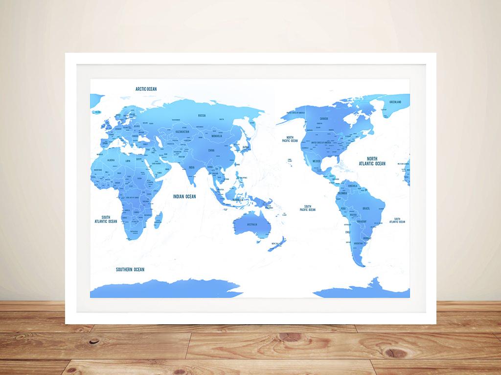 Australia / Pacific Centred Sky Blue Push Pin Travel Map   Australia / Pacific Centred Sky Blue Push Pin