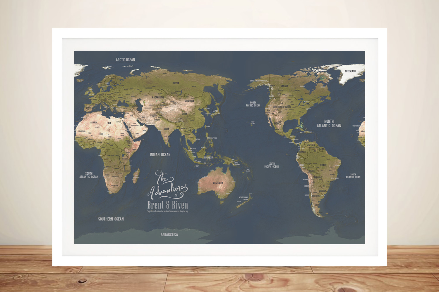 Personalised Australia-Centric Grey Push Pin Map | Australia-Centric Grey Push Pin Map