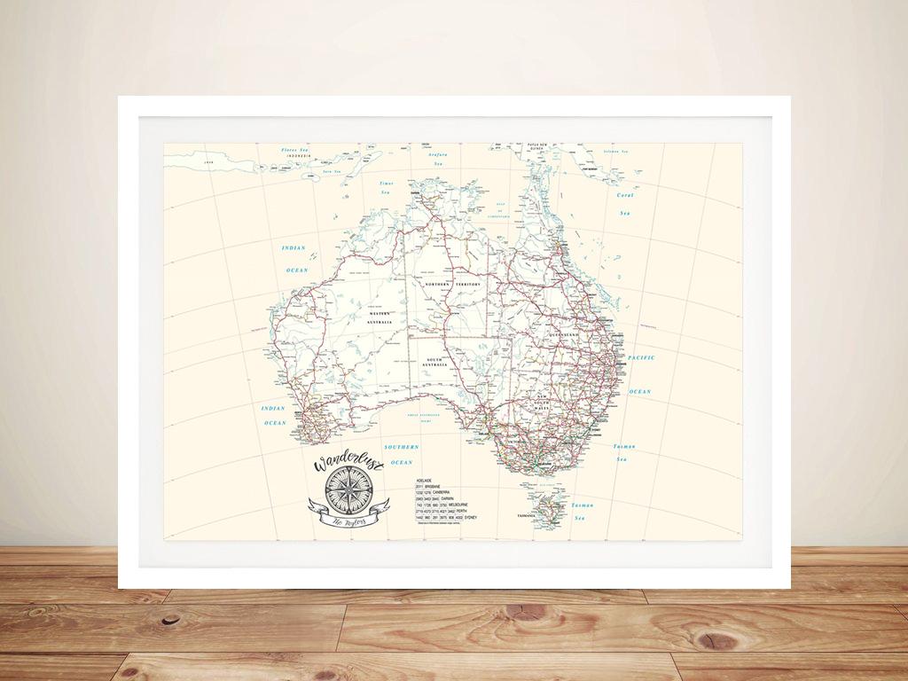 Australia Rectangle Cream Push Pin Map   Australia Rectangle Cream Push Pin Map