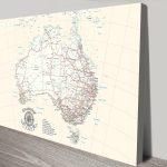 Australia-Cream-Push-Pin-Map-Canvas-Board-Wall-Art