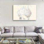 Custom-Australia-Cream-Push-Pin-Map-Canvas-Cork-Board-Art