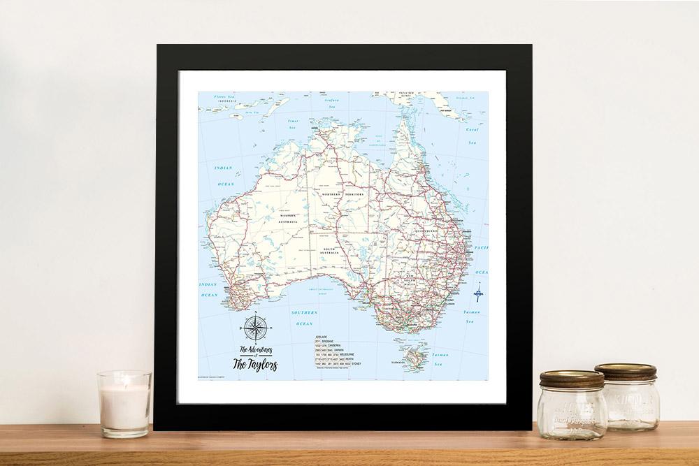 Custom Australia Detailed Light Blue Square Push Pin Map | Australia Detailed Light Blue Square Map