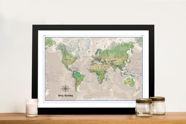 Custom Poseidon Push Pin World Map Framed Wall Art   Poseidon Push Pin Travel Map