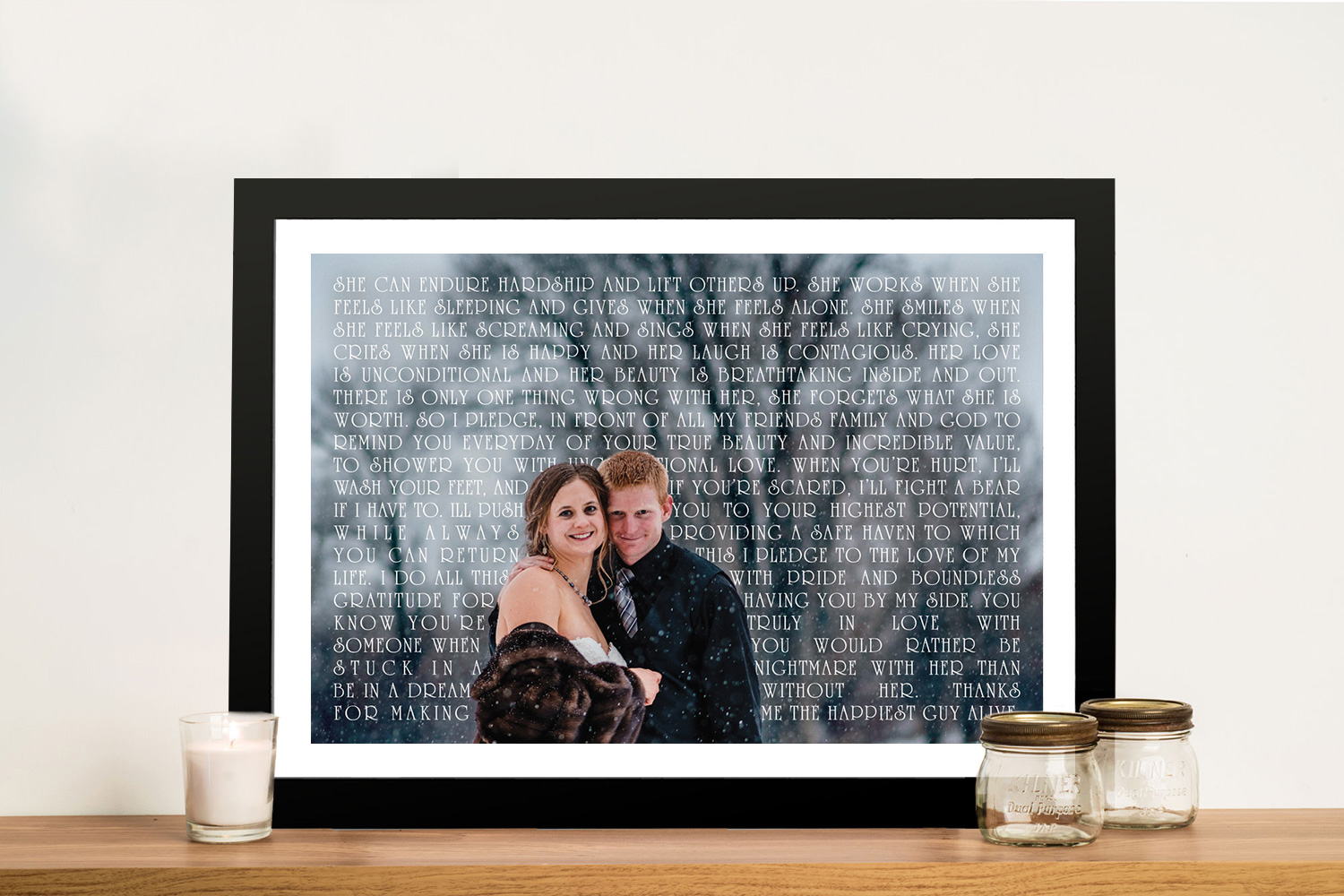 Custom Photo Word Art Wedding Anniversary Gift idea | Unconditional
