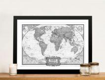 Wanderlust Black & White Push Pin Map Art