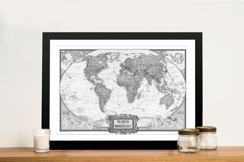 Wanderlust Black & White Push Pin Map Art | NatGeo Push Pin World Map