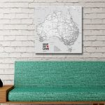 Australia-Map-Black-and-White-Canvas-Artwork-with-Pins