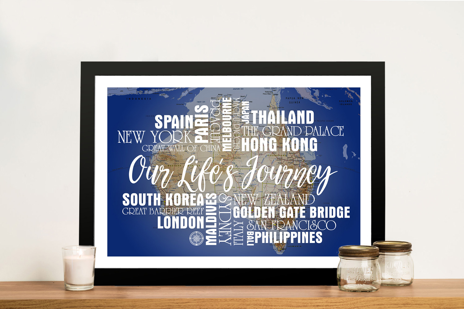 Personalised Blue Australia Push Pin Map with Words   Blue Australia Push Pin Map with Words