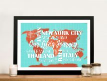 Personalised Push Pinboard Turquoise and Orange Travel Map