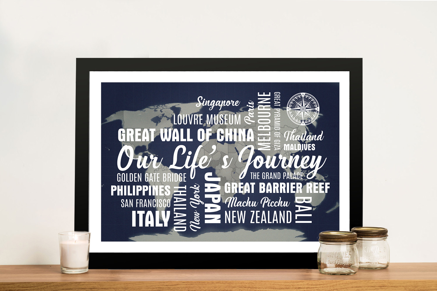 Dark Blue Push Pin Map with Words | Dark Blue Push Pin Map with Words