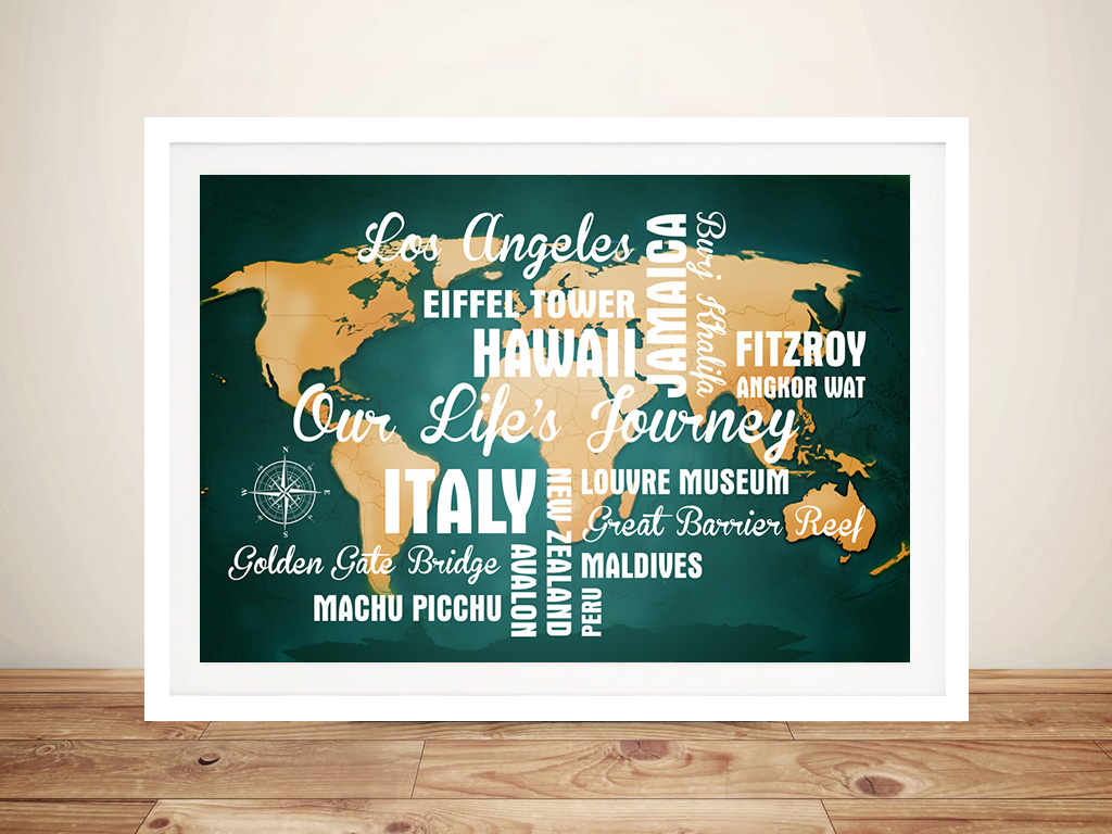 Personalised Green Push Pin Map with Words | Dark Green Push Pin Map with Words
