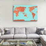 Pacific-Centred-Turquoise-and-Orange-Push-Pin-Map