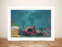 Diving Spots Personalised Map Framed Wall Art