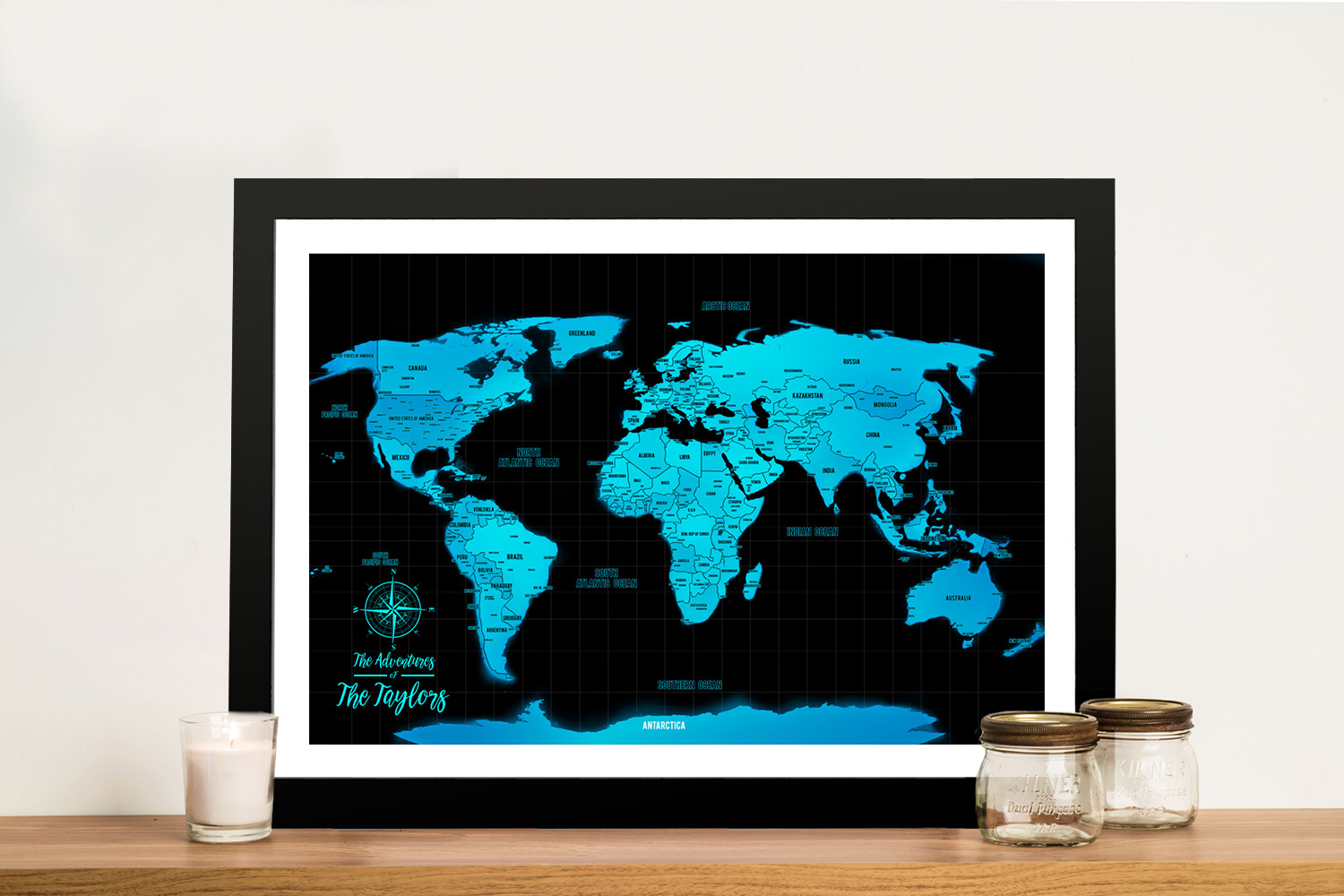 Electric Blue Custom Map with Pins   Electric Blue Push Pin World Map