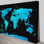 Personalised-Electric-Blue Push-Pin-World-Map-Canvas-Art
