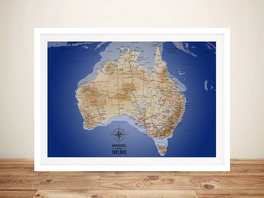 Australia Sea Blue Push Pin Map Art | Australia Sea Blue Push Pin Map Art