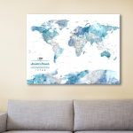 Blue-Watercolour-World-Map-Canvas-Artwork