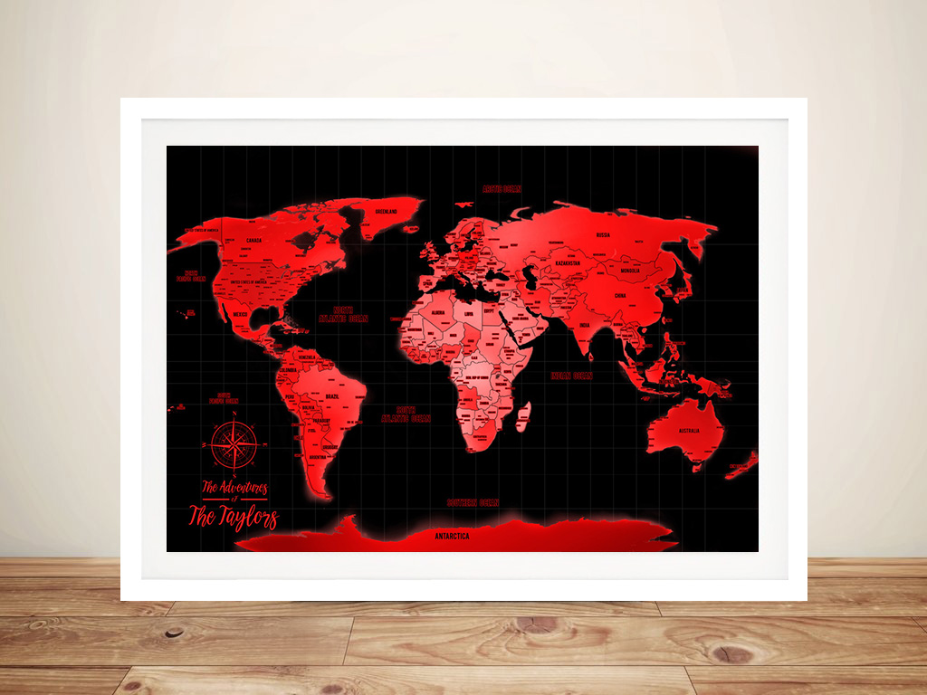 Personalised Neon Red Push Pin World Map | Neon Red Push Pin World Map