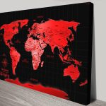 Personalised-Neon-Red-Push Pin-World-Map-Canvas-Print
