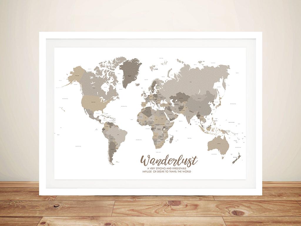 Bronze World Map Framed Art | Bronze Watercolour Custom World Travel Map