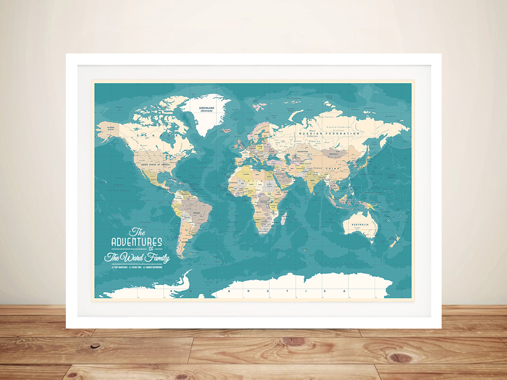 Personalised Green World Map Pinboard Art | Oceanic Green Push Pin Map