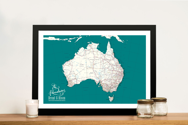 Personalised Australia Pinboard Map Wall Art | Personalised Australia Detailed Teal Map