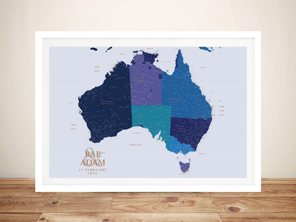 Personalised Blue & Gold Australia Push Pin Map   Blue & Gold Australia Push Pin Map