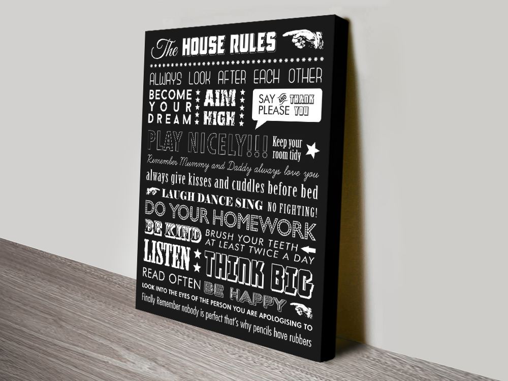Personalised Mixed Font House Rules Canvas Print   House Rules – Mixed Font