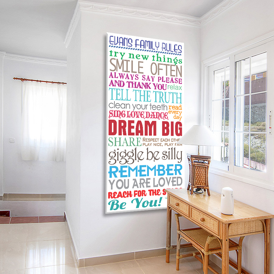 House Rules Multi Font Tram Scroll Canvas Artwork   House Rules Multicolour Tram Scroll