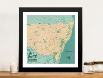 New South Wales Push Pin Map Framed Artwork