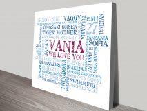 Personalised word canvas print