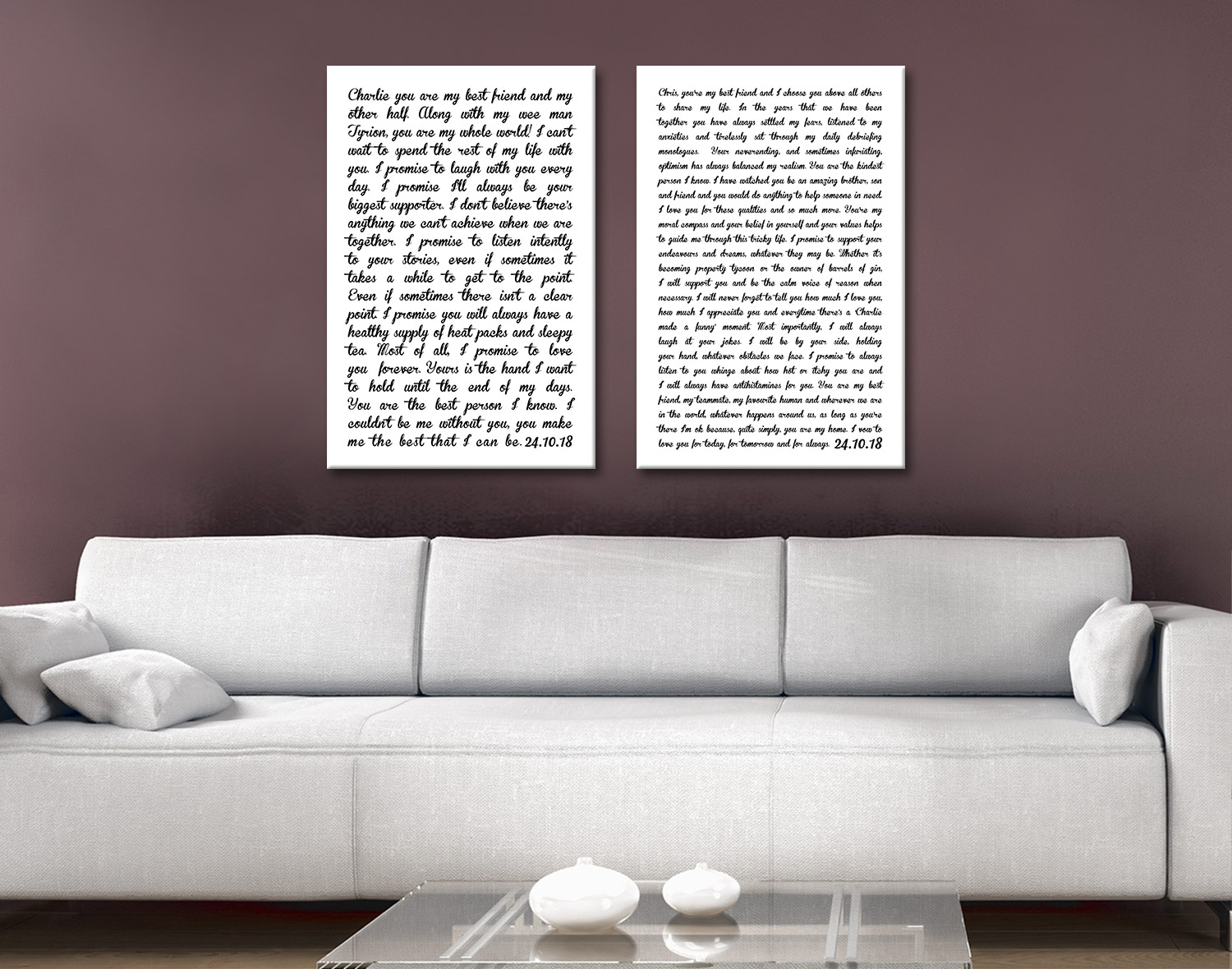 Wedding Vows Canvas Print | Wedding Vows Portrait Layout