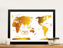 Australia Centred White Gold Push pin Framed Map