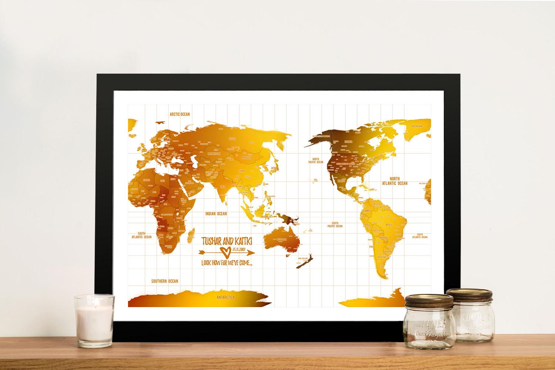Australia Centred White Gold Push pin Framed Map   Australia-Centric White Gold Map