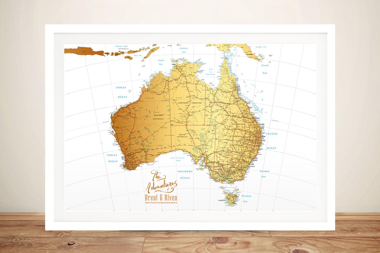   Australia White & Gold Push Pin Map