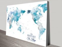 Australia Centred Ocean Tones World Push Pin Travel Map Art