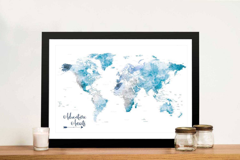Buy a Personalised Push Pin Ocean Tones World Map | Ocean Tones Push Pin World Map