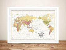 Pacific Centred World Map Wave-Crest-White-Edited-with-compass Framed Wall Artwork
