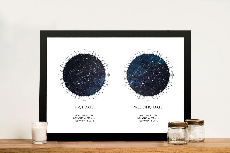 Buy Dual Star Chart Personalised Artwork   Dual Stars Star Map – Style 22