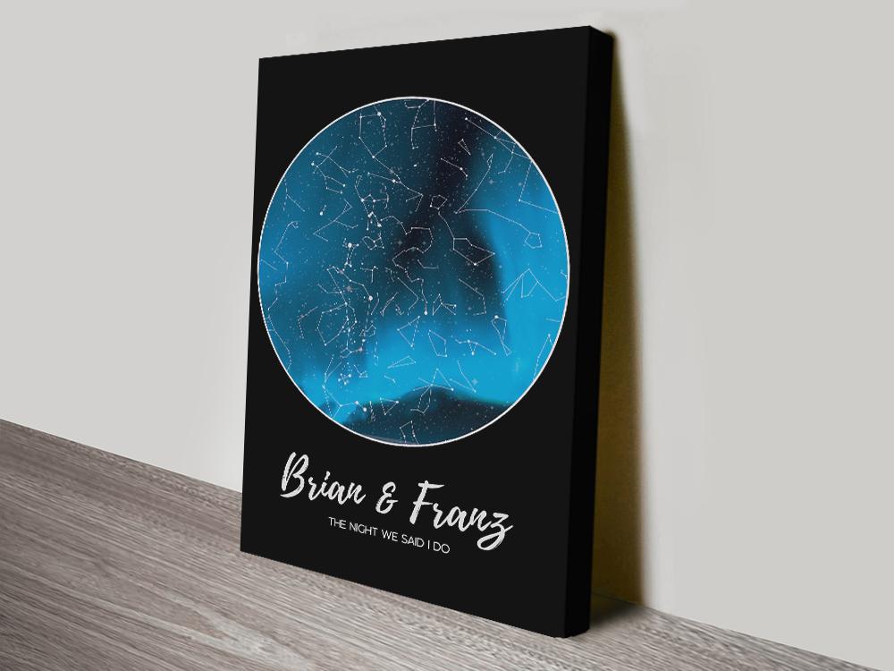 Personalised Aurora Borealis Star Map Australia | Personalised Aurora Borealis Star Map – Blue