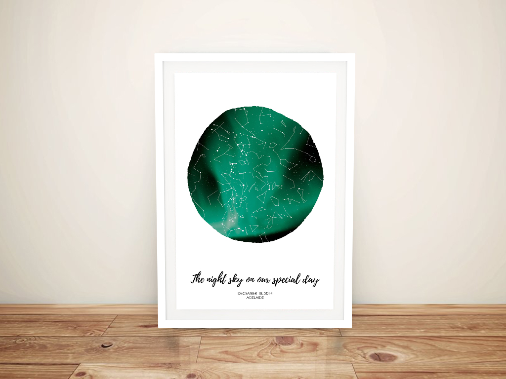 Star Map Aurora Borealis Framed Wall Art | Personalised Northern Lights Star Map