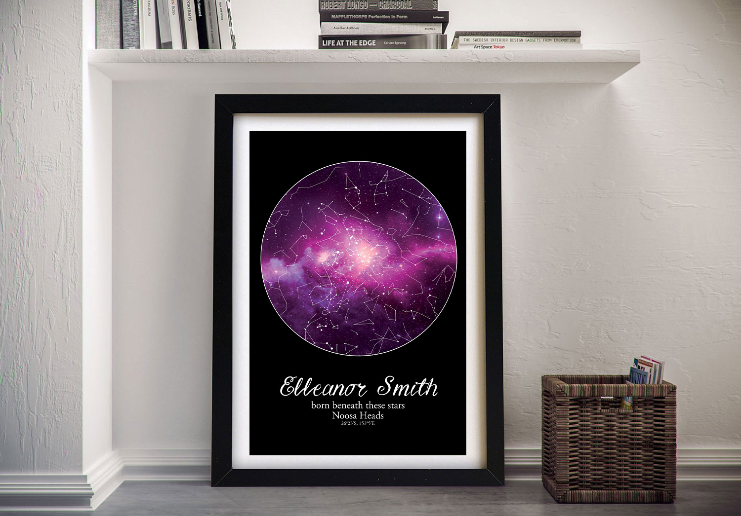 Buy Purple Cosmos Wall Art Baby Gift Ideas   Personalised Purple Cosmos Star Map Style 20