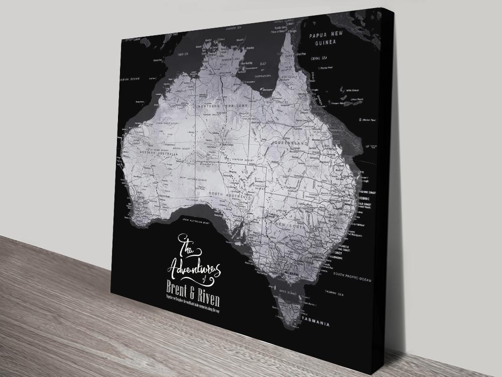 Buy a Silver & Black Pushpin Map of Australia | Australia Detailed Black & Silver Square Map