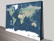 Buy a Dark Blue Miller Physical Framed Map