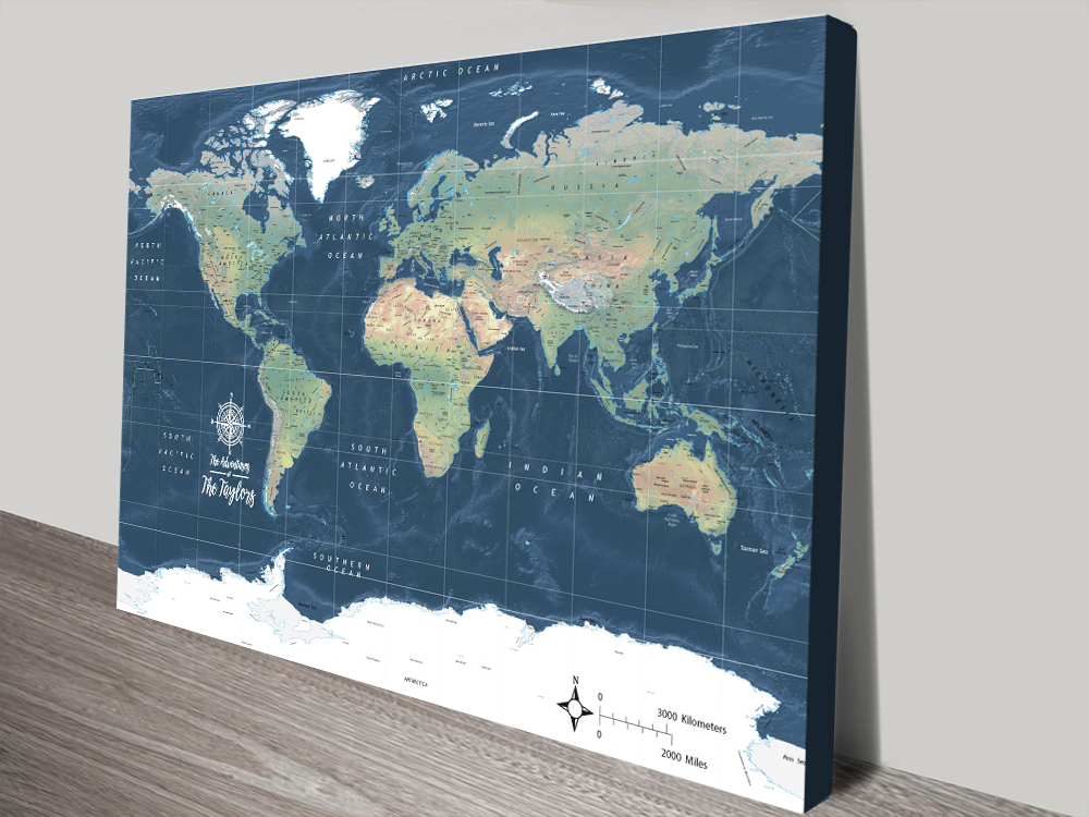 Buy a Dark Blue Miller Physical Framed Map | Miller Physical World Map in Dark Blue